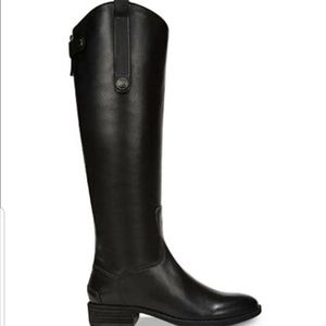 Sam Edelman Penny Riding Boots Black Leather Zip